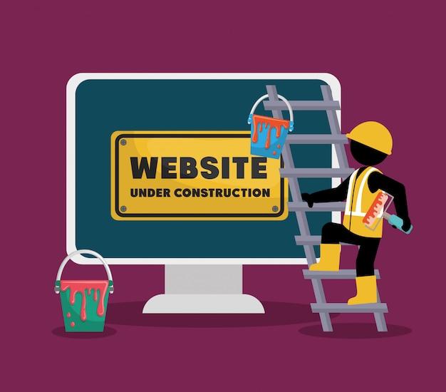Website under construction with desktop computer Premium Vector