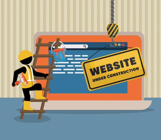 Website under construction with laptop Premium Vector