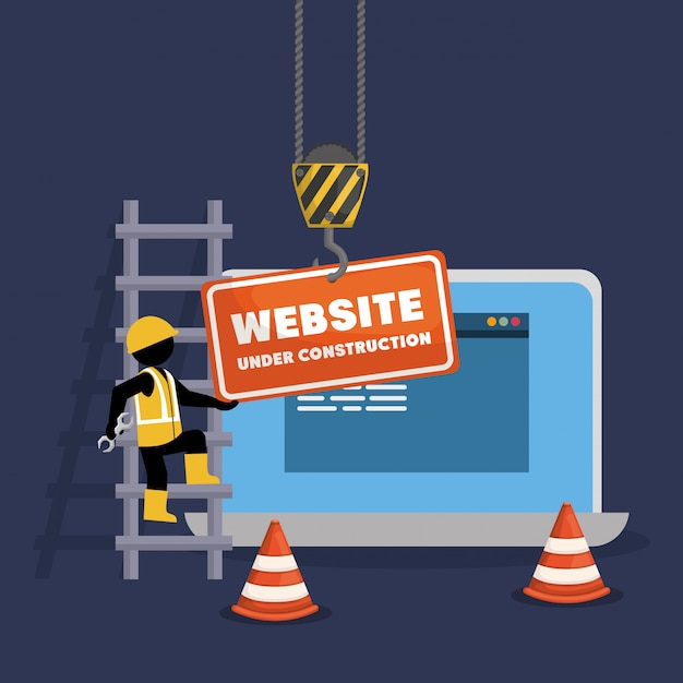 Website under construction with laptop Premium Vector