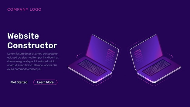 Website constructor isometric concept Free Vector