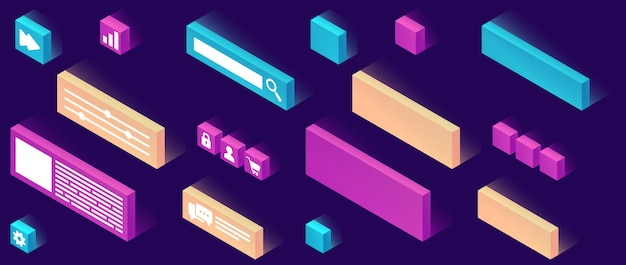 Website constructor isometric icon Free Vector