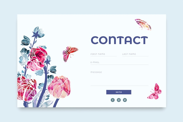 Website contact form  template with trendy abstract floral elements painted with alcohol ink Premium Vector