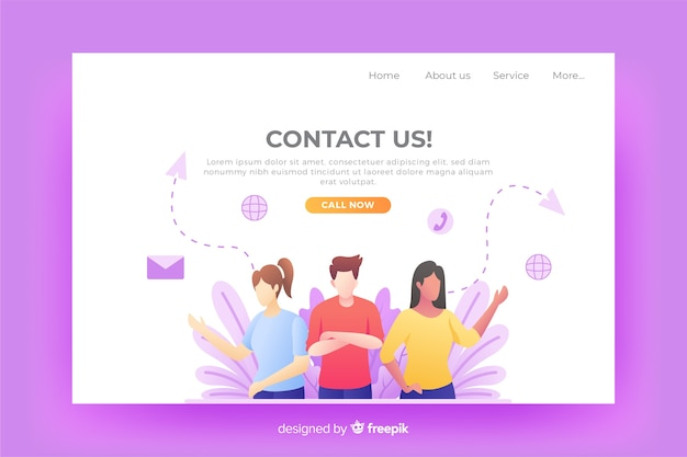 Website contact us landing page Free Vector