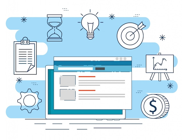 Website data to business plant strategy Free Vector