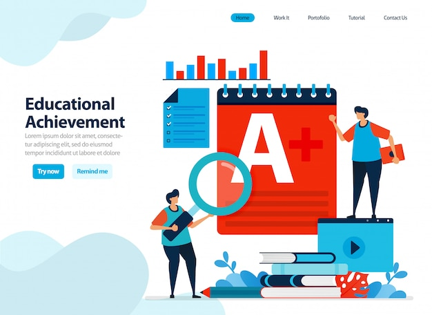 Website design of educational achievement and learning process. Premium Vector