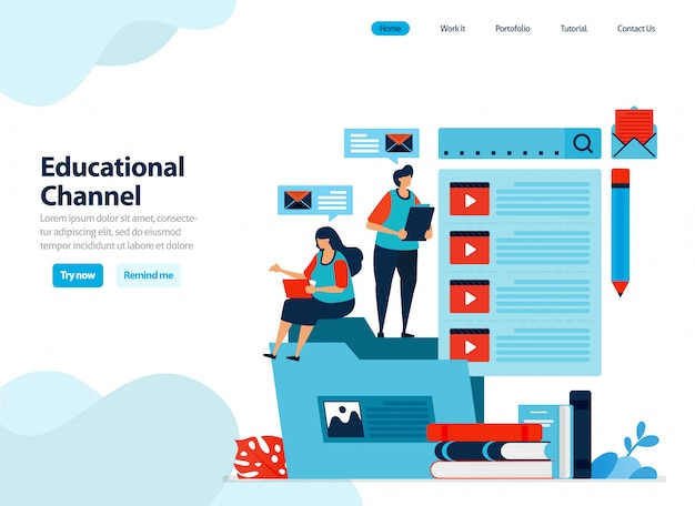 Website design of educational video channel collect and organize learning videos Premium Vector