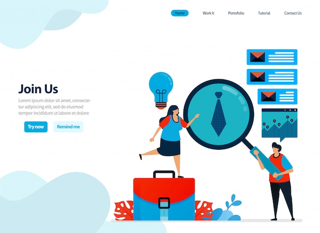 Website design of join us, hiring and refer a friend program. Premium Vector