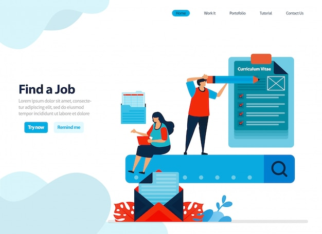 Website design of looking for work and finding employees. Premium Vector