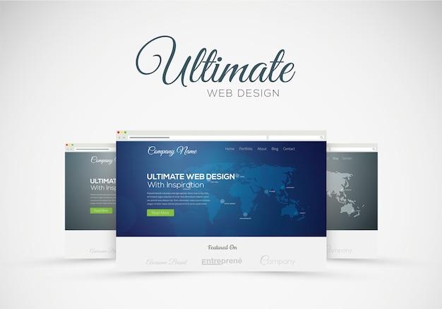 Website design showcase in web browser vector concept Premium Vector