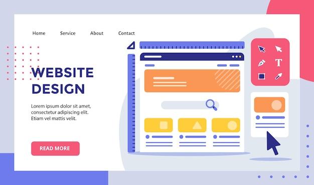 Каркасная линейка дизайна веб-сайта на мониторе кампании для целевой страницы домашней страницы веб-сайта Premium векторы