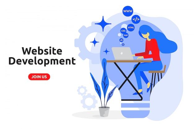Website development concept modern flat design Premium Vector