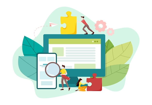 Website development concept. web page programming and making responsive interface on computer. mobile and computer interface. digital technology.  illustration Premium Vector