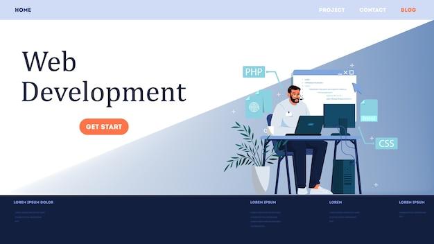 ウェブサイト開発の水平方向のバナー。コンピューターでのwebページのプログラミングと応答性の高いインターフェイスの作成。プログラミングとコーディング、ウェブサイトの作成。コンピューターテクノロジー。図 Premiumベクター