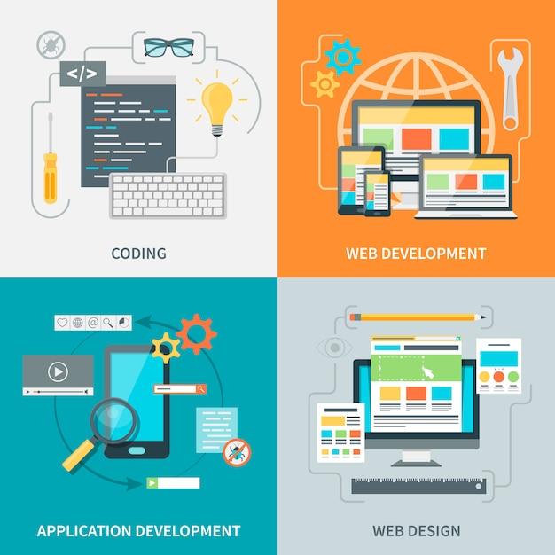 Website development picture set Free Vector