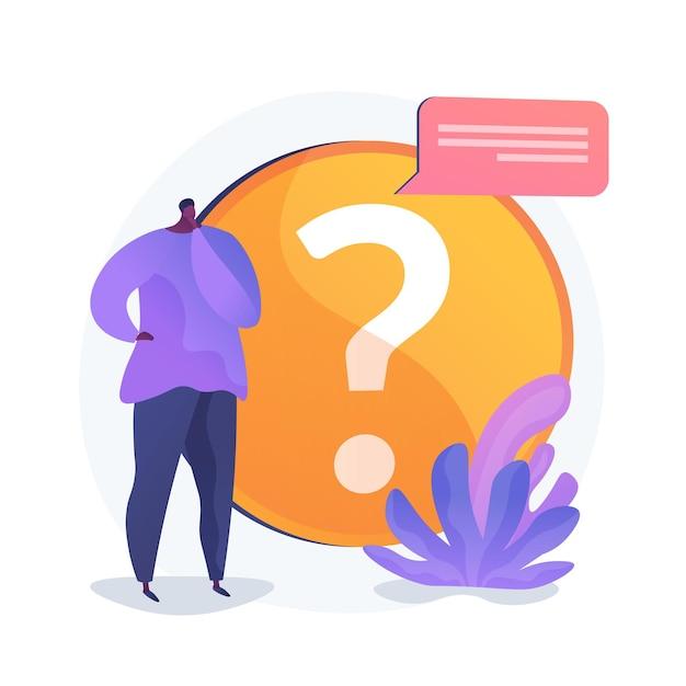 Раздел faq по сайту. служба поддержки пользователей, поддержка клиентов, часто задаваемые вопросы. решение проблемы, игра-викторина смущенный мультяшный персонаж. Бесплатные векторы