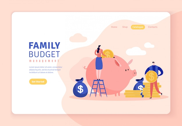 Website in flat style of family budget with piggy bank. Premium Vector