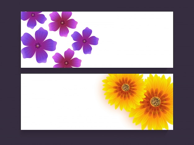 Website headers or banners set decorated with\ beautiful purple and yellow flowers.