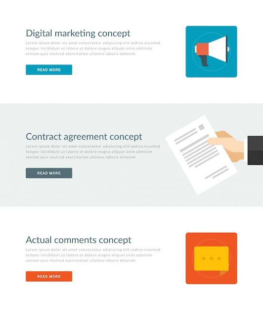 Website headers or promotion banners templates and flat icons design. Premium Vector