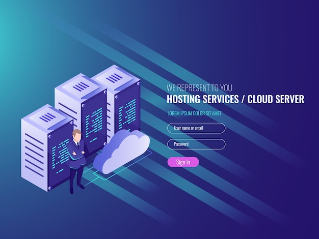 Website hosting isometric, cryptocurrency and\ blockchain concept.