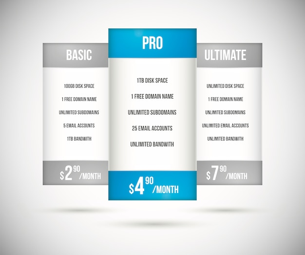 Website hosting plan pricing tables vector Premium Vector