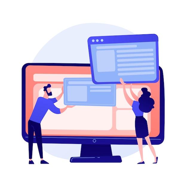 웹 사이트 인터페이스 개발 계획. 일하는 팀 플랫 캐릭터를 개발합니다. ui, ux, 콘텐츠 디자인. 컴퓨터 소프트웨어 생성 및 웹 개발 개념 그림 무료 벡터
