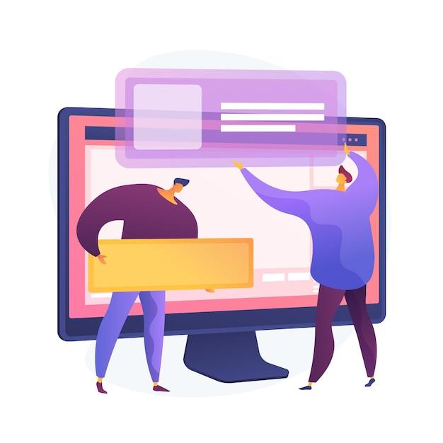 ウェブサイトインターフェースの開発計画。 devopsチームのフラットキャラクターが機能しています。 ui、ux、コンテンツデザイン。コンピュータソフトウェアの作成とweb開発。 無料ベクター