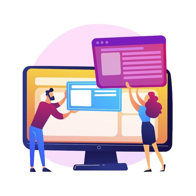 Pianificazione dello sviluppo dell'interfaccia del sito web. i personaggi piatti del team devops lavorano. ui, ux, design dei contenuti. creazione di software per computer e sviluppo web. Vettore gratuito