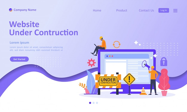 Website is under construction landing page Premium Vector