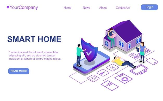 Целевая страница веб-сайта, рекламный плакат, флаер или брошюра для цифровых технологий умного дома, изометрическая векторная иллюстрация Premium векторы