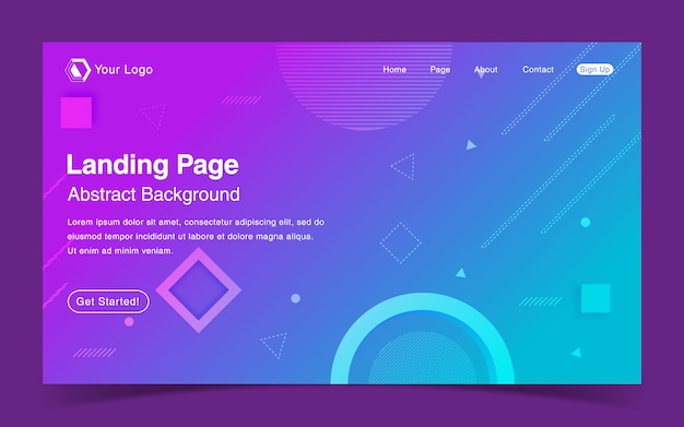 Website landing page template with geometric blue background Premium Vector