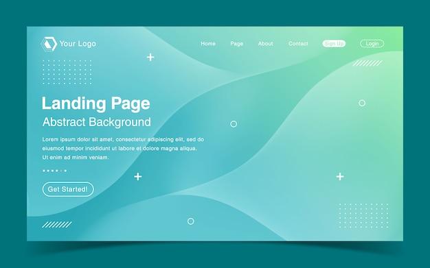 Website landing page template with green gradient Premium Vector