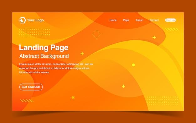Website landing page template with orange gradient background Premium Vector