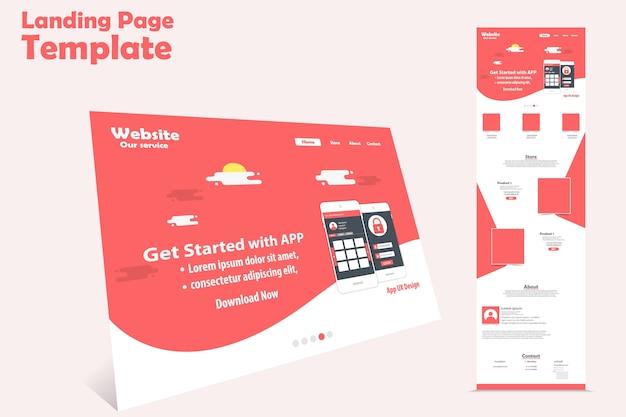 Website landing page vector template design Premium Vector