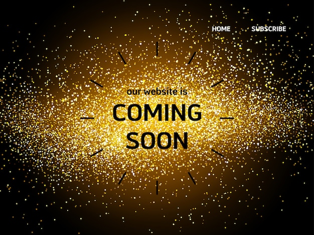 Website landing page with coming soon words Free Vector