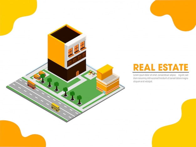 Website landing page with isometric view of real estate. Premium Vector