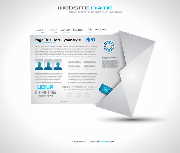 Website layout design for business Premium Vector