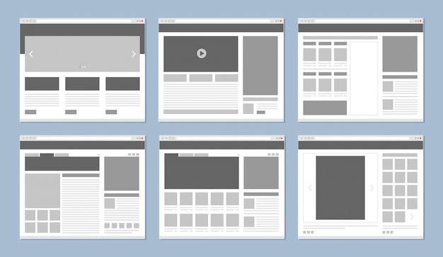 ウェブサイトのレイアウト。 webページテンプレートバナーとui要素のアイコンベクトルを持つインターネットブラウザーウィンドウ Premiumベクター