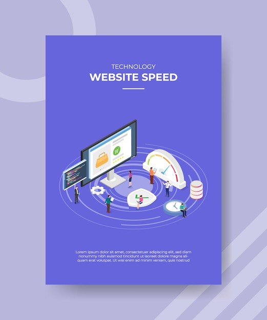 Website loading speed concept poster template with isometric style vector illustration Free Vector