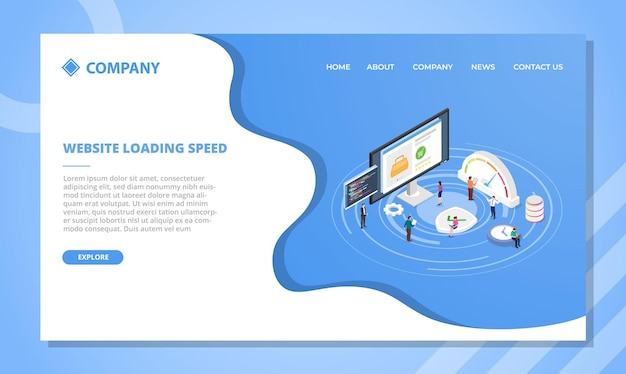 Website loading speed concept for website template or landing homepage design with isometric style vector illustration Free Vector