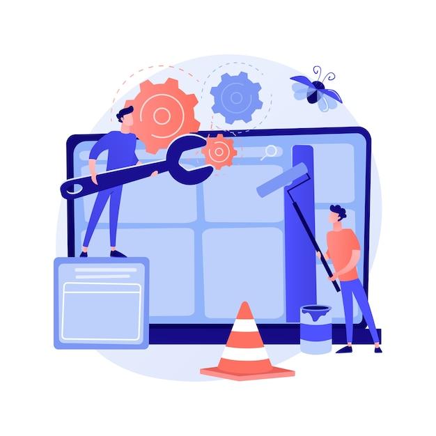 Illustrazione di vettore di concetto astratto di manutenzione del sito web. servizio sito web, manutenzione seo pagine web, web design, supporto professionale sito aziendale, analisi sicurezza, aggiornamento metafora astratta. Vettore gratuito