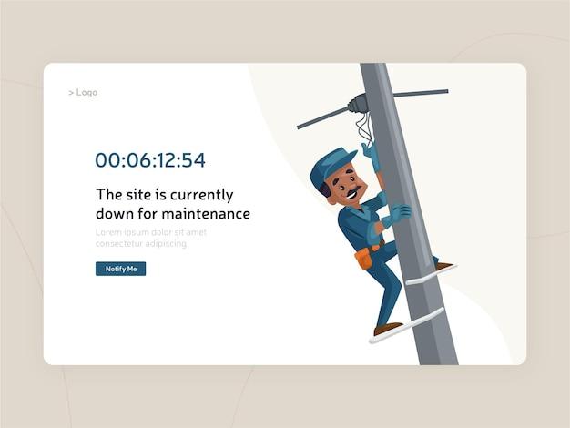 Website maintenance flat page template design Premium Vector
