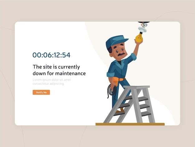 Website maintenance flat page template Premium Vector