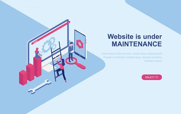 Website under maintenance page isometric landing page web template Premium Vector