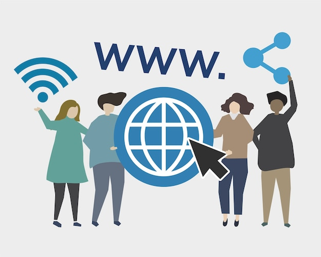 Animated illustration of world wide web links
