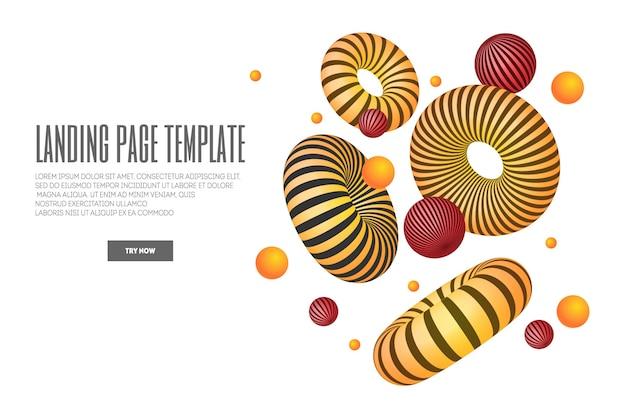 3dの抽象的な形とトーラスのイラストが掲載されたウェブサイトまたはモバイルアプリのランディングページ。最小限の幾何学的な背景。 Premiumベクター