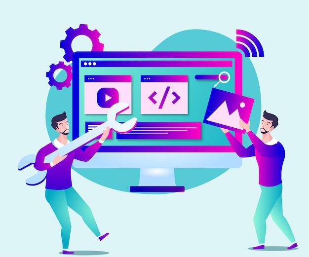 ウェブサイトのページ開発またはウェブサイトのメンテナンスの図 Premiumベクター