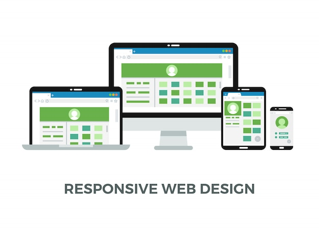 Website page on diferent devices screens Premium Vector
