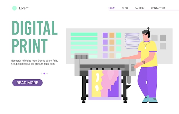 Website page for digital print service  polygraphy and typography printing works banner template for web or landing page. Premium Vector