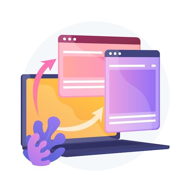 Website responsive design development. computer, laptop software programming. web optimization. cross platform internet site creating. Free Vector