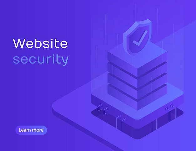 Website security, data protection, server access, personal account, personal data processing. modern  illustration in isometric style Premium Vector